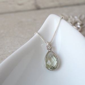 Green Amethyst Gemstone Necklace by Wallis Designs