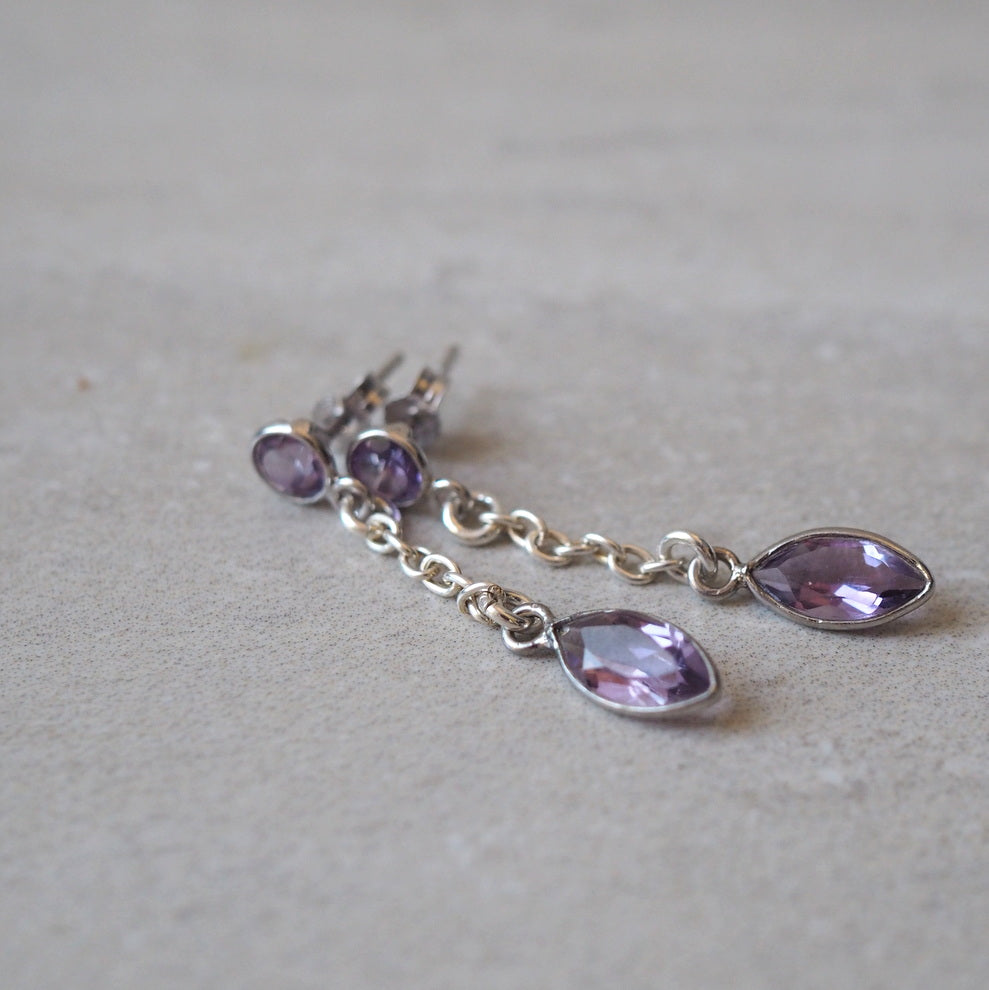 Purple amethyst earrings with sterling silver by Nancy Wallis