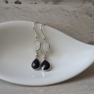 Sterling Silver Gemstone Earrings with Moonstone and Onyx
