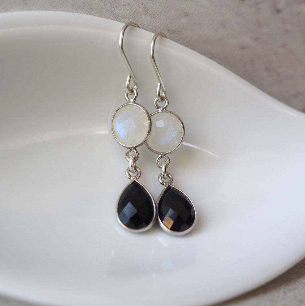 Black and White Gemstone Earrings by Nancy Wallis Designs