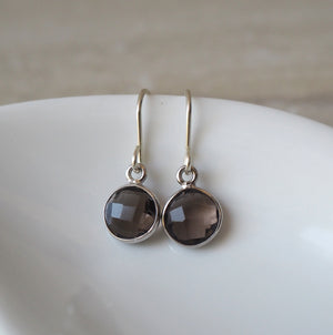 Smokey Quartz Drop Earrings in Sterling Silver