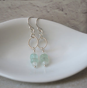 Aqua Chalcedony and Moonstone Gemstone Earrings