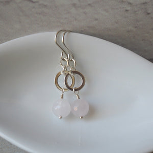 Sterling Silver Earrings with Rose Quartz by Wallis Designs