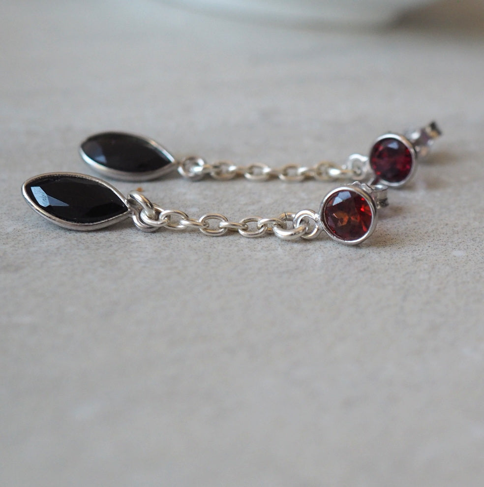 Garnet and Onyx Gemstone Stud Earrings by Wallis Designs