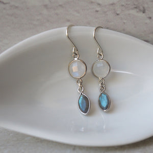 Moonstone and Labradorite Gemstone Earrings