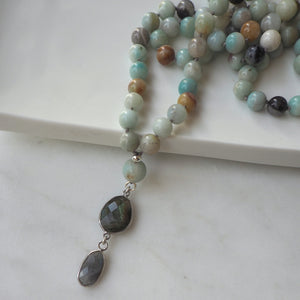 Mala Necklace with Amazonite and Labradorite Pendant