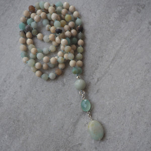 Gemstone Mala Necklace Yoga Jewelry by Wallis Designs
