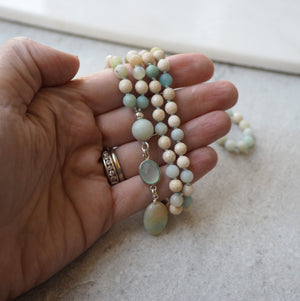Amazonite Gemstone Mala Necklace by Wallis Designs in Canada