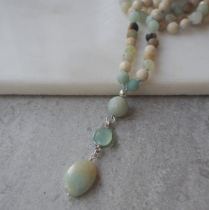 Amazonite and Riverstone Mala Necklace by Nancy Wallis Designs