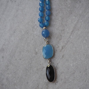 Blue Agate and chalcedony mala necklace by Wallis Designs