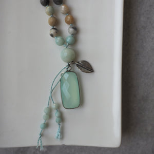 Mala Necklace in Black Gold Amazonite and Chalcedony
