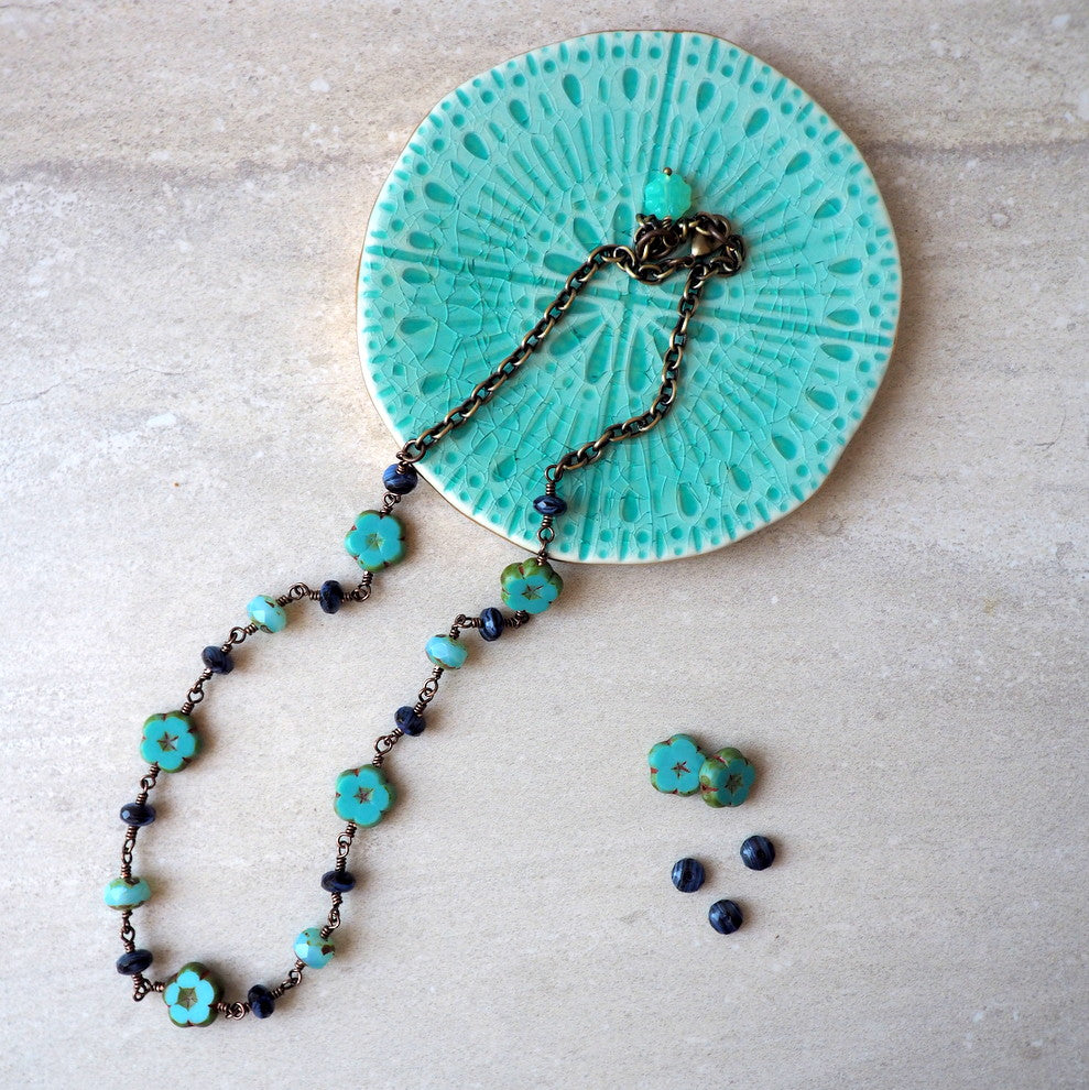 Czech Glass Bead Necklace in Turquoise and Blue