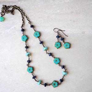 Beaded necklace and earrings by Wallis Designs