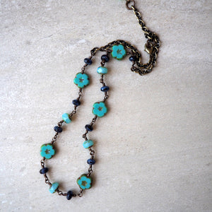 Turquoise Flower Bohemian Necklace by Wallis Designs