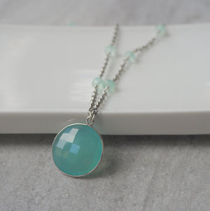 Aqua Chalcedony Gemstone Necklace made in Canada