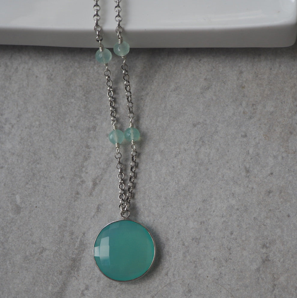 Aqua Chalcedony Pendant Necklace with Sterling Silver