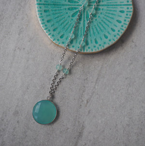 Aqua Chalcedony Necklace with Sterling Silver Chain