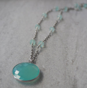 Large Chalcedony pendant necklace by Nancy Wallis Designs