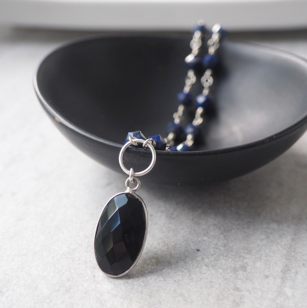Lapis Lazuli and Black Onyx Gemstone Necklace