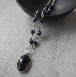 Black and Blue Gemstone Necklace in Sterling Silver