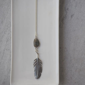 Silver Feather Necklace with Labradorite Gemstone by Wallis Designs