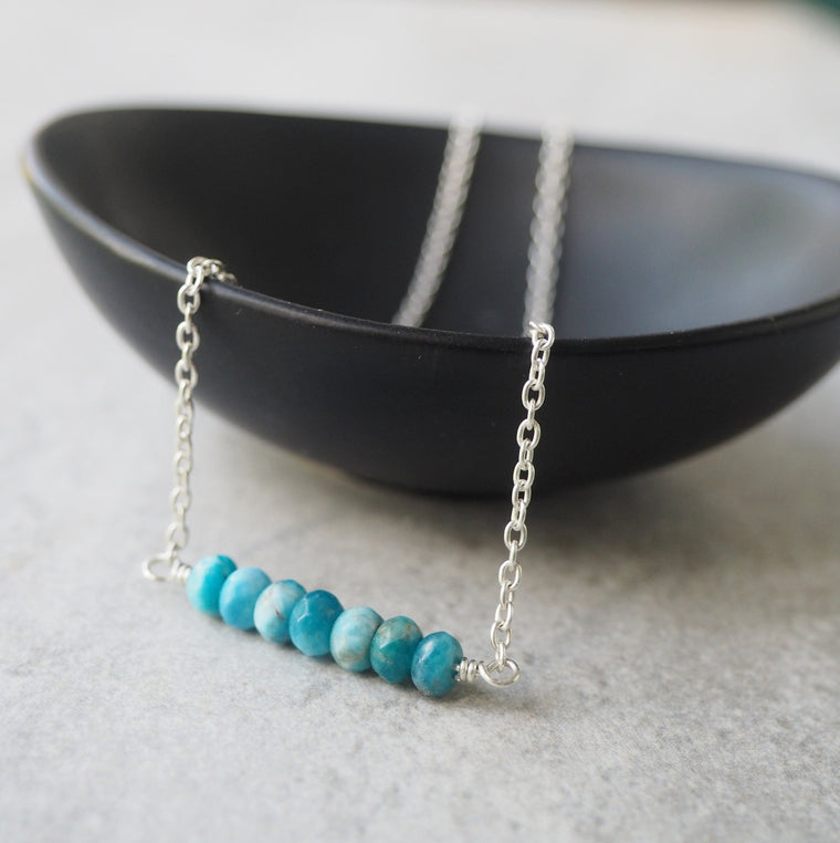 Blue Apatite Silver Gemstone Necklace by Wallis Designs