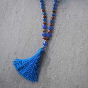 Blue Jade and Sandlewood Tassel Necklace