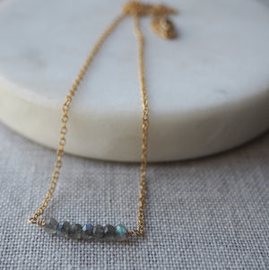 Grey Gemstone Necklace with Gold Chain by Wallis Designs