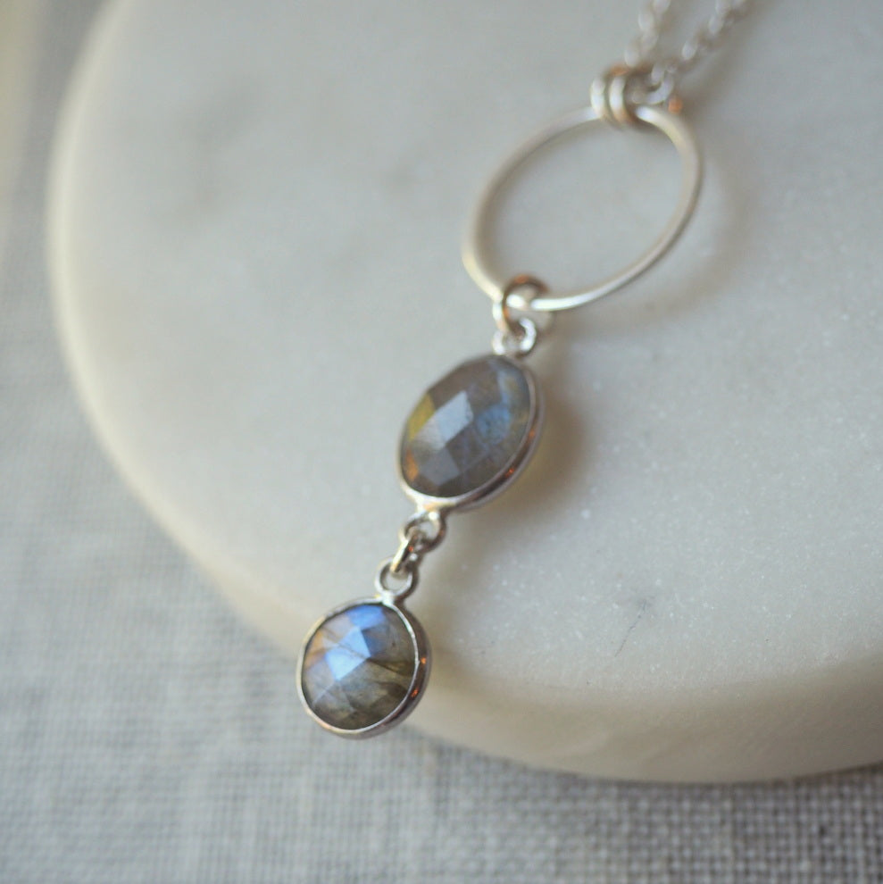 Grey Gemstone Long Silver Necklace (131)