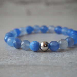 Periwinkle Blue Agate Stretch Bracelet by Wallis Designs