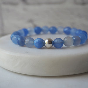 Periwinkle Blue Agate Bracelet with Sterling Silver
