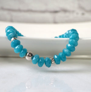 Blue Gemstone Bracelet with Sky Blue Agate Beads