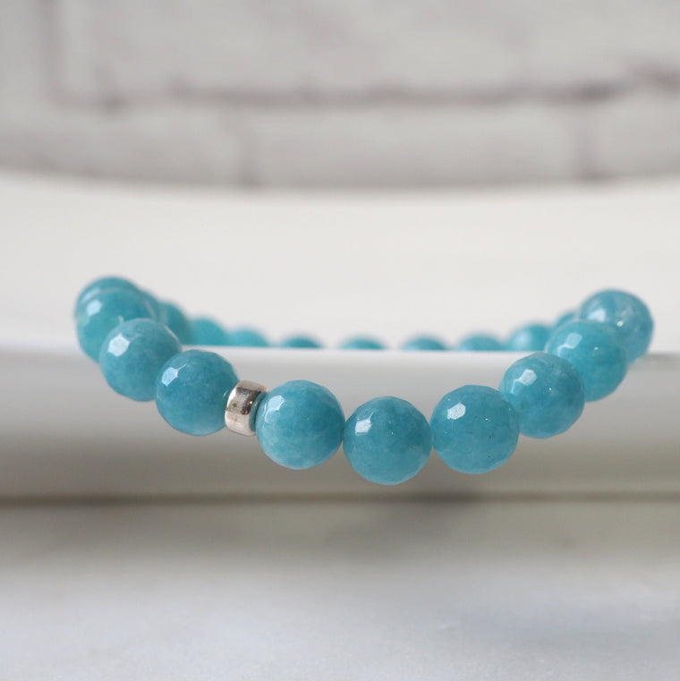 Blue Jade Stretch Bracelet by Nancy Wallis Designs