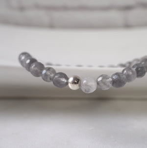 Grey Gemstone Bracelet with Grey Quartz by Wallis Designs