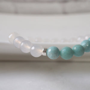 Amazonite Gemstone Bracelet with White Quartz