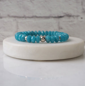 Gemstone Bracelet in Blue Agate and Sterling Silver