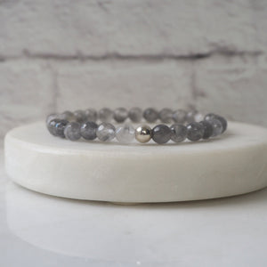 Grey Moon Gemstone Stretch Bracelet by Wallis Designs