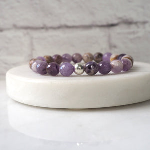Amethyst Bracelet in Purple and Earthy Tones