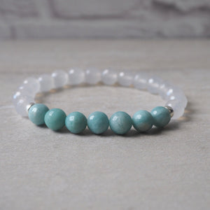 Clarity Gemstone Bracelet with Amazonite and Quartz