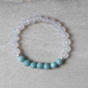 Turquoise and White Gemstone Bracelet by Wallis Designs
