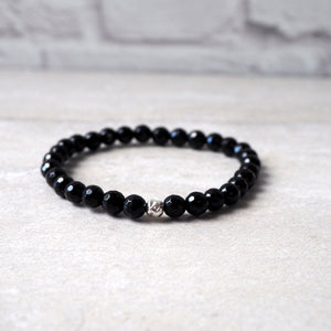 Black Gemstone Stretch Bracelet Gift for Her by Wallis Designs