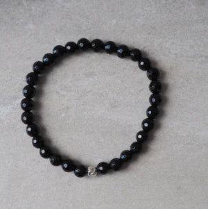 Black Onyx Gemstone Bracelet with Sterling Silver