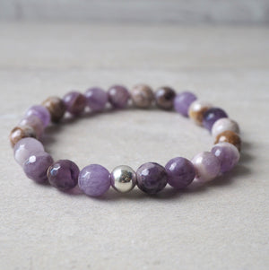 Dog Teeth Amethyst Stone Stretch Bracelet by Wallis Designs
