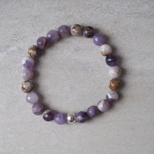 Amethyst Stretch Stone Bracelet by Nancy Wallis Designs
