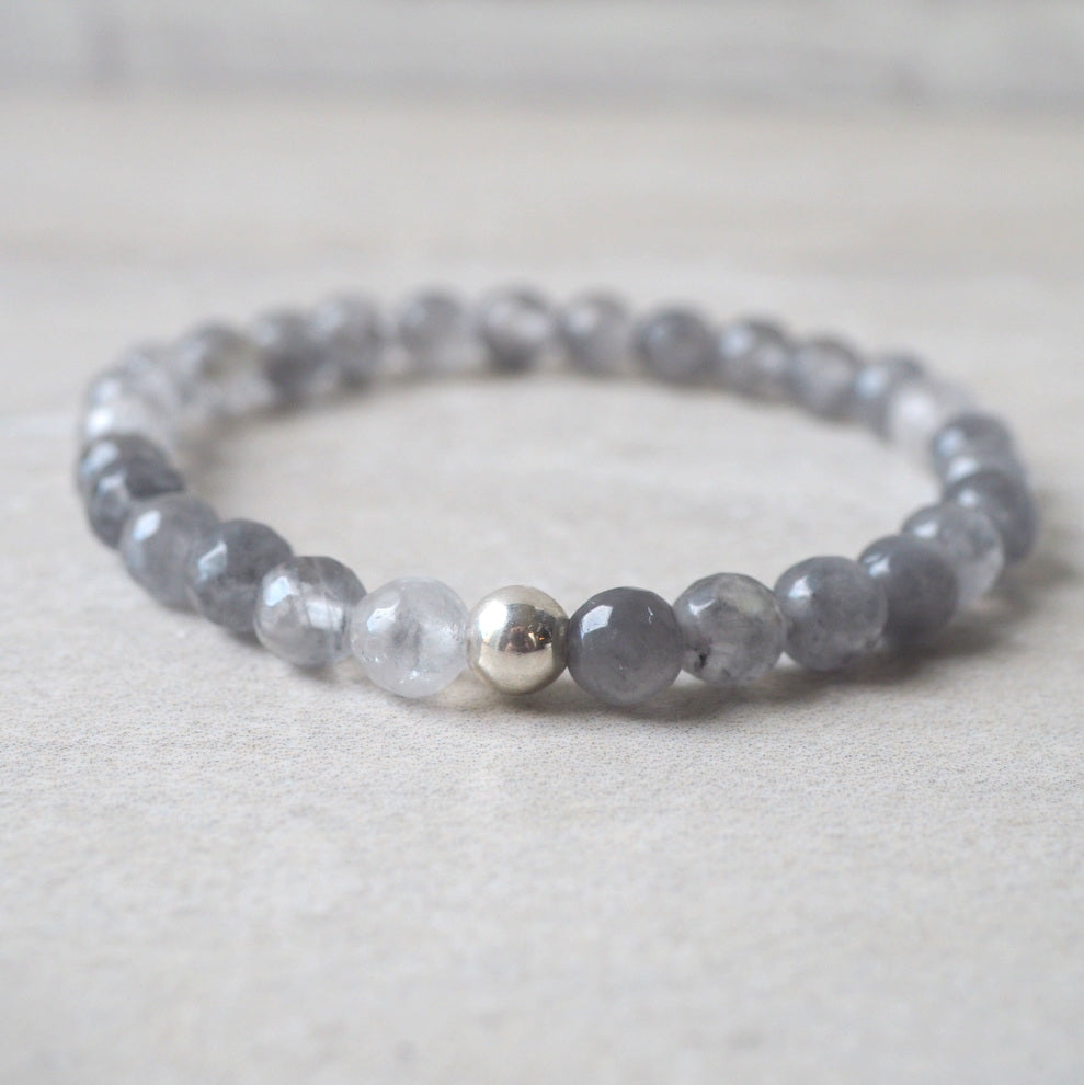 Grey Gemstone Stretch Bracelet with Grey Quartz