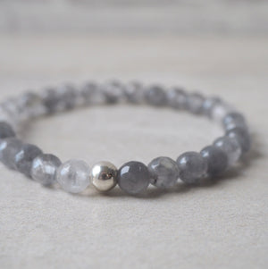 Gemstone Stretch Bracelet in Grey Quartz made in Canada