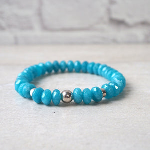 Blue Agate Stone Bracelet made by Wallis Designs