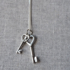 Heart Key Pendant Necklace on Sterling Silver Chain