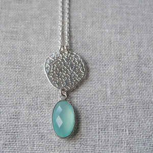 Aqua Chalcedony Pendant Sterling Silver Necklace