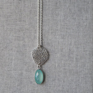 Long Gemstone Necklace in Sterling Silver and Aqua Chalcedony